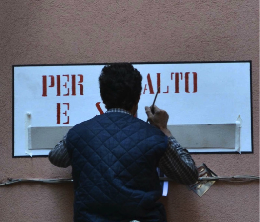 Sign painter in Venice Italy, Street sign in Venice Italy, Per Rialto, Per San Marco