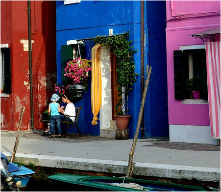 Burano Island Venice, Mother and Child in Venice