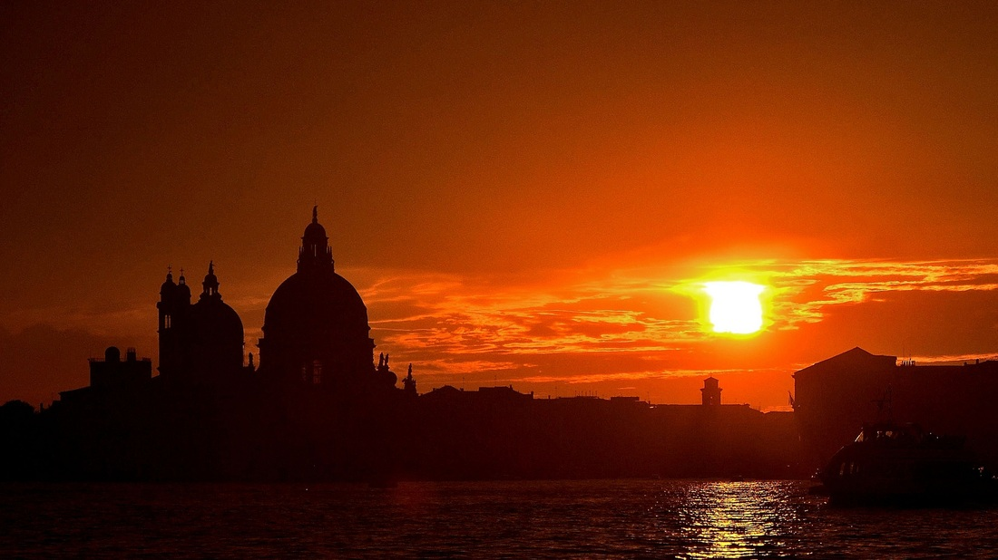 Sunset over the Canale di San Marco Venice, Venice Italy, La Salute Church
